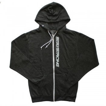 SWEAT STAY STRONG FASTER ZIP HEATHER BLACK