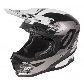 SHOT FURIOUS SHADOW HELMET BLACK WHITE GLOSSY KID