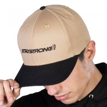 STAY STRONG STAPLE SNAPBACK CAP BLACK/TAN