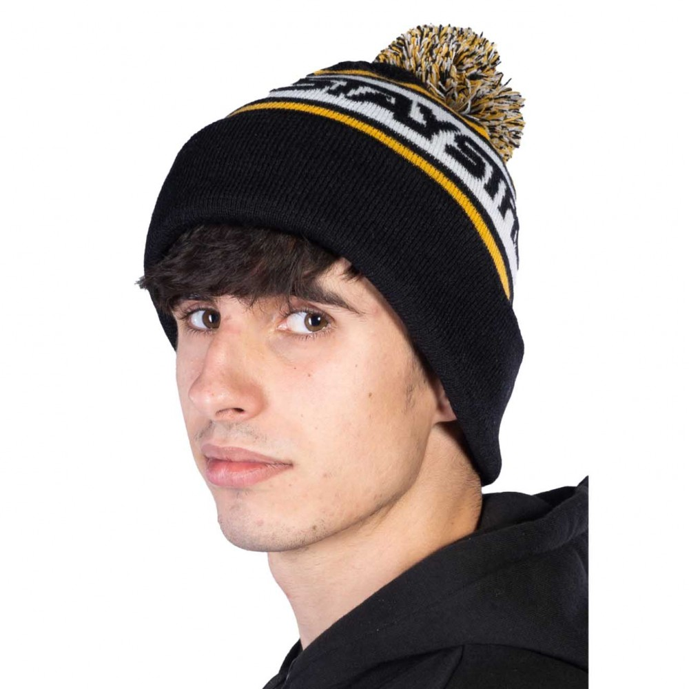 STAY STRONG BEANIE FASTER BOBBLE BLACK