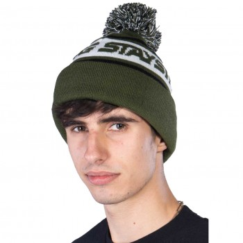 STAY STRONG BEANIE FASTER BOBBLE GREEN