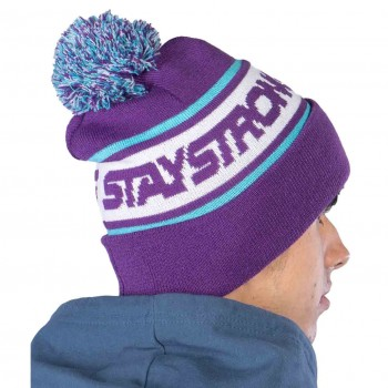 STAY STRONG BEANIE FASTER BOBBLE PURPLE