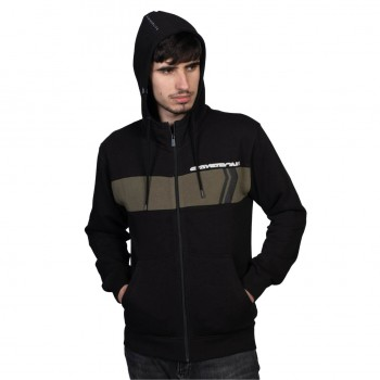 STAYSTRONG SWEAT CUT STRIPE FULL ZIP BLACK/ARMY GREEN