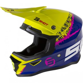 SHOT FURIOUS STORM  HELMET GREY GREEN NEON YELLOW GLOSSY