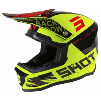 CASQUE ENFANT SHOT FURIOUS DRAW NEON YELLOW BLACK RED GLOSSY