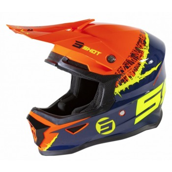 SHOT FURIOUS DRAW KID HELMET ORANGE BLUE GLOSSY