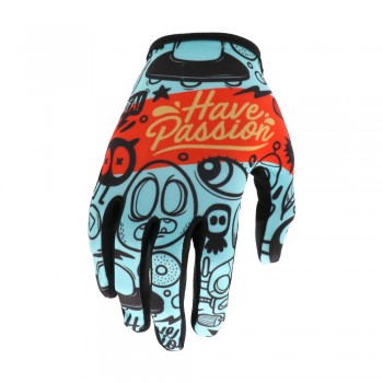 EVOLVE PASSION ADULT GLOVES CYAN/RED