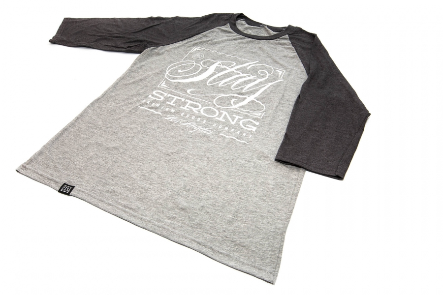 STAY STRONG DEMMING RAGLAN GREY TSHIRT