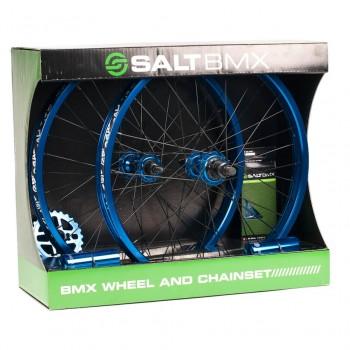 SET DE ROUES SALT VALLON BLUE (roues + couronne + pegs + chaine)