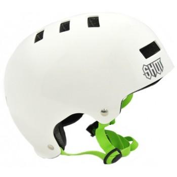 SHOT SOLID WHITE/GREEN HELMET