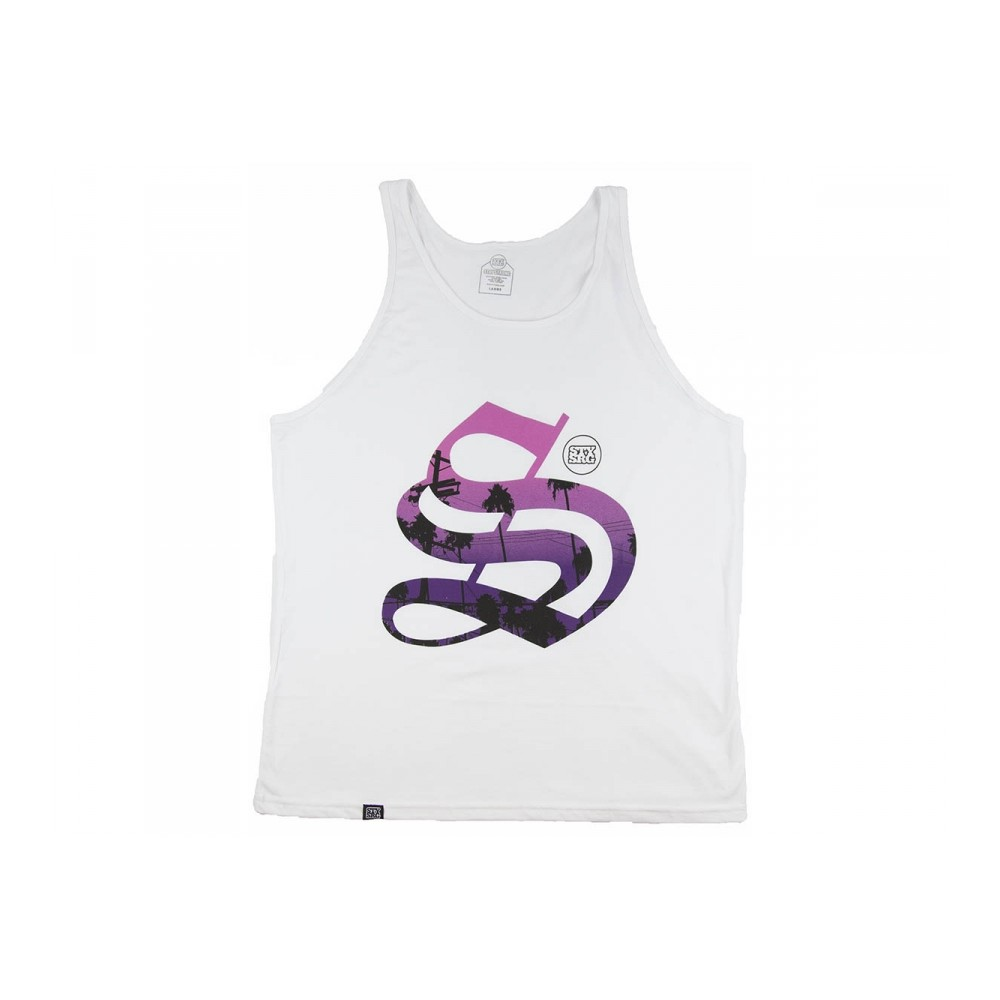 STAY STRONG PALMS WHITE SLEEVELESS TSHIRT